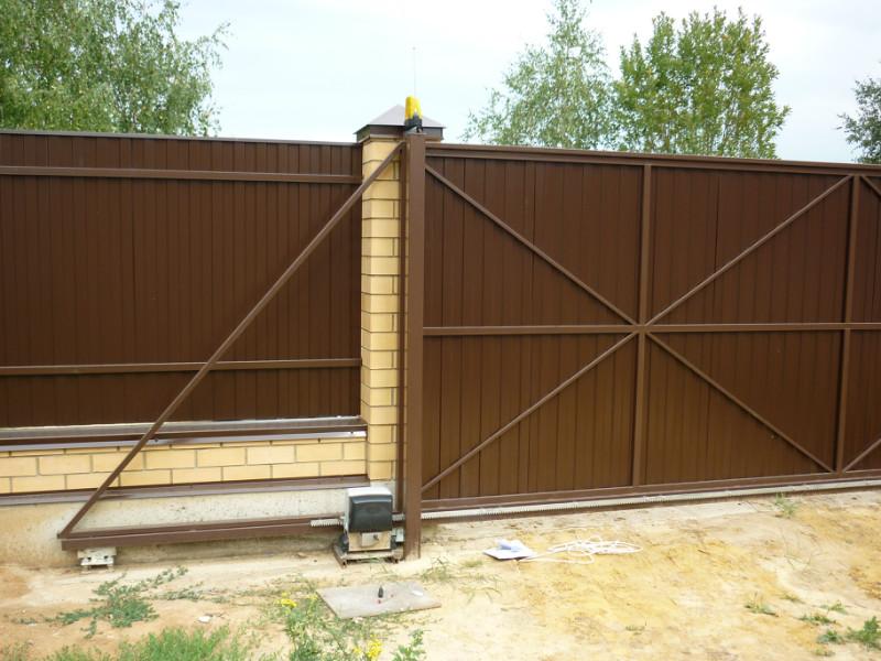 Ворота откатные в заборе своими руками 27